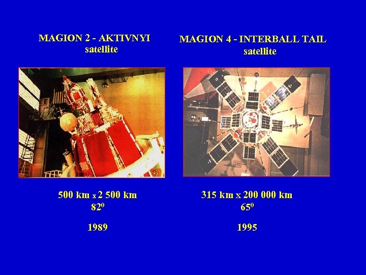 MAGION 2 - AKTIVNYI satellite MAGION 4 - INTERBALL TAIL satellite 500 km x