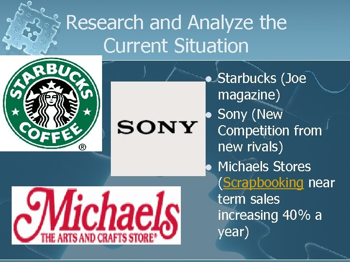 Research and Analyze the Current Situation l l l Starbucks (Joe magazine) Sony (New