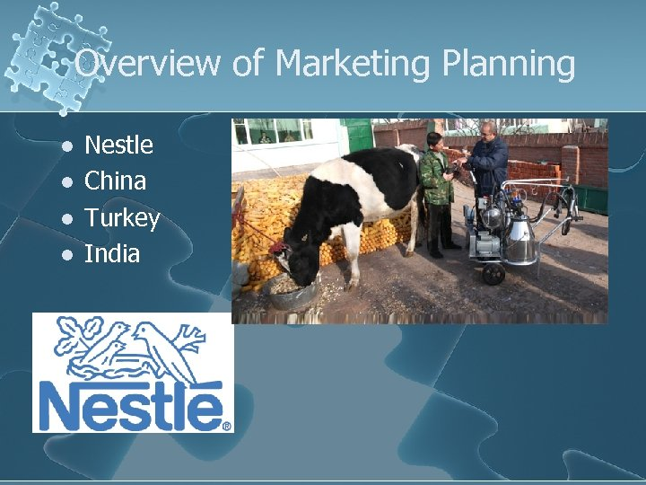 Overview of Marketing Planning l l Nestle China Turkey India
