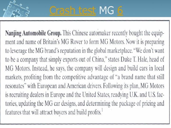 Crash test MG 6