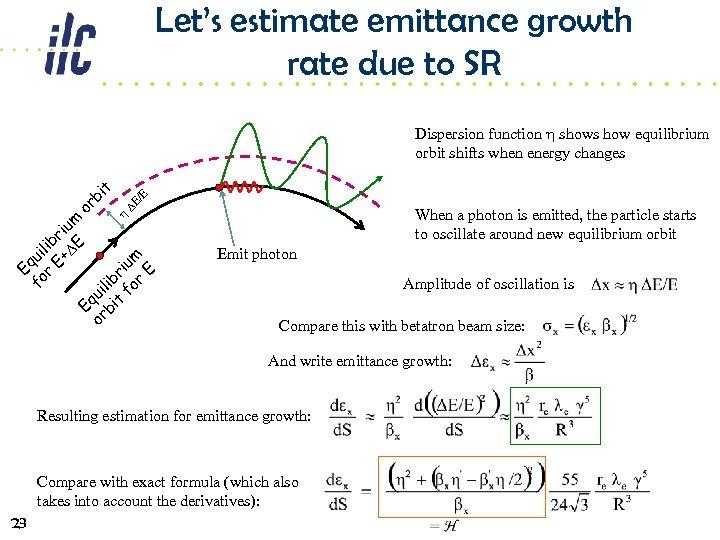 Let's estimate emittance growth rate due to SR /E DE When a photon is