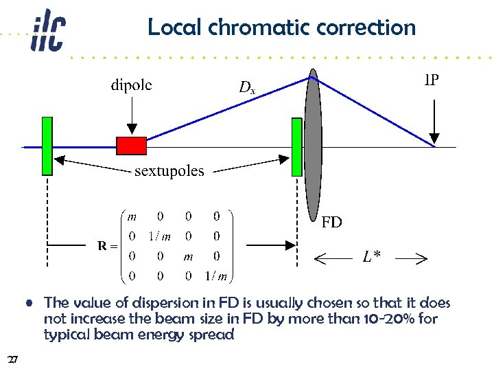 Local chromatic correction • The value of dispersion in FD is usually chosen so