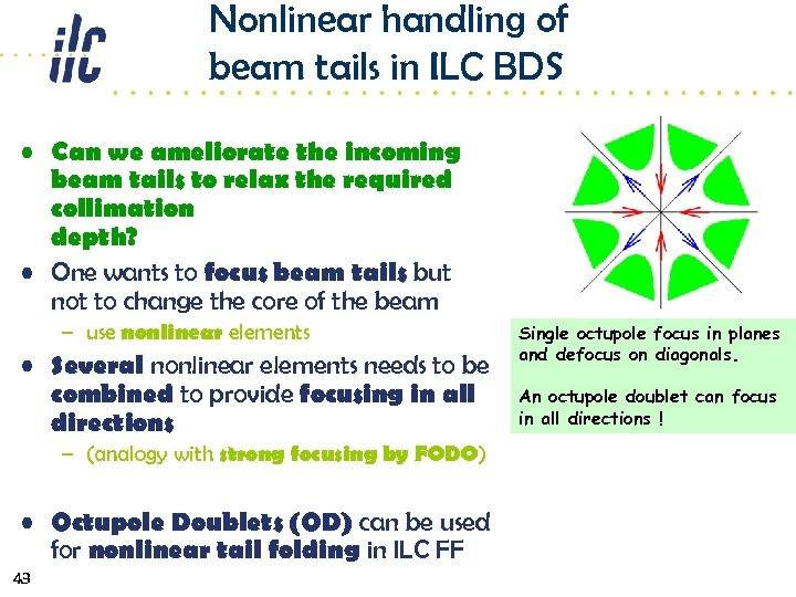 Nonlinear handling of beam tails in ILC BDS • Can we ameliorate the incoming