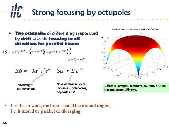 Strong focusing by octupoles • Two octupoles of different sign separated by drift provide