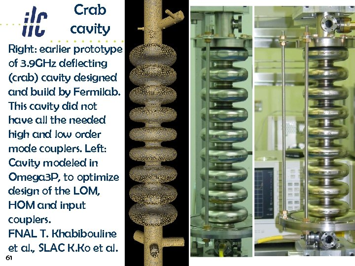 Crab cavity Right: earlier prototype of 3. 9 GHz deflecting (crab) cavity designed and