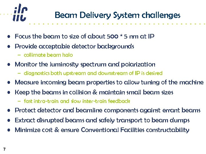Beam Delivery System challenges • Focus the beam to size of about 500 *