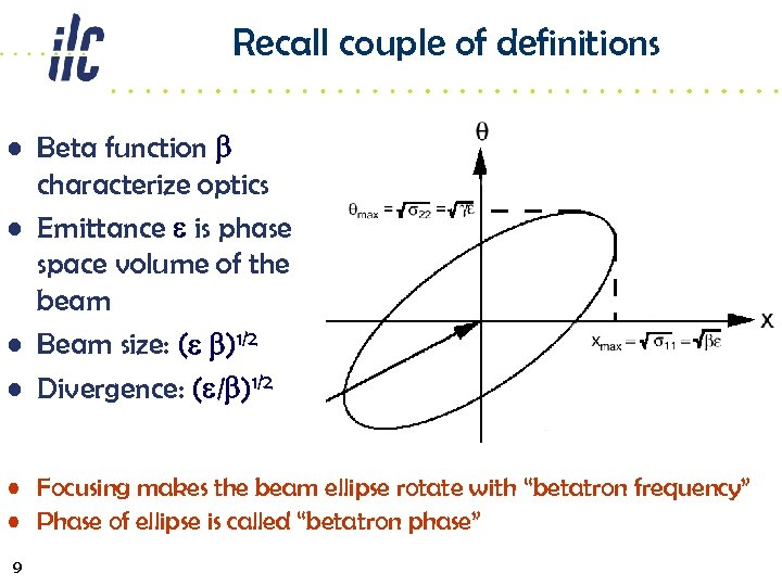 Recall couple of definitions • Beta function b characterize optics • Emittance e is