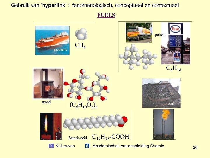 Gebruik van 'hyperlink' : fenomenologisch, conceptueel en contextueel KULeuven Academische Lerarenopleiding Chemie 36