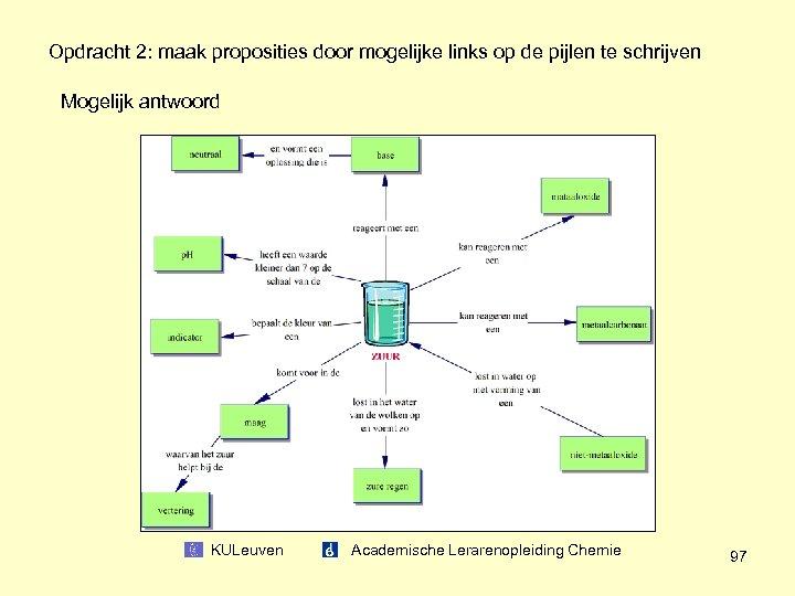 Opdracht 2: maak proposities door mogelijke links op de pijlen te schrijven Mogelijk antwoord
