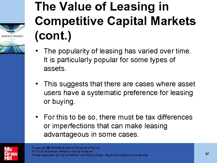 The Value of Leasing in Competitive Capital Markets (cont. ) • The popularity of