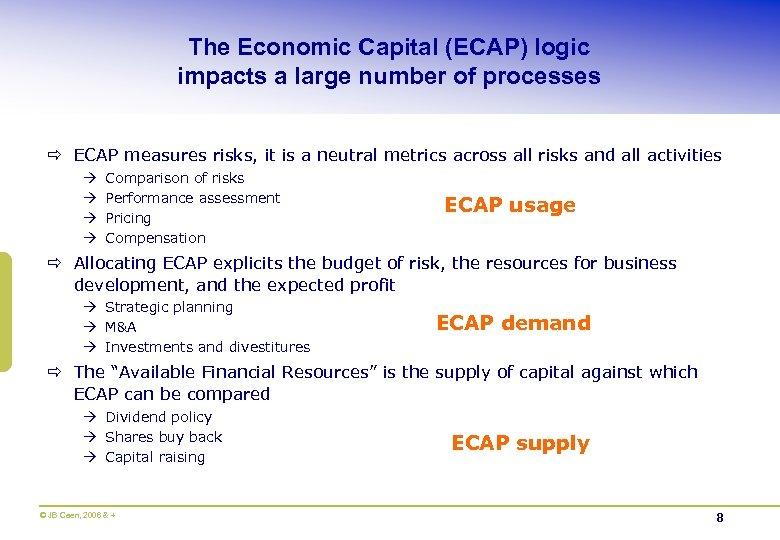The Economic Capital (ECAP) logic impacts a large number of processes ð ECAP measures