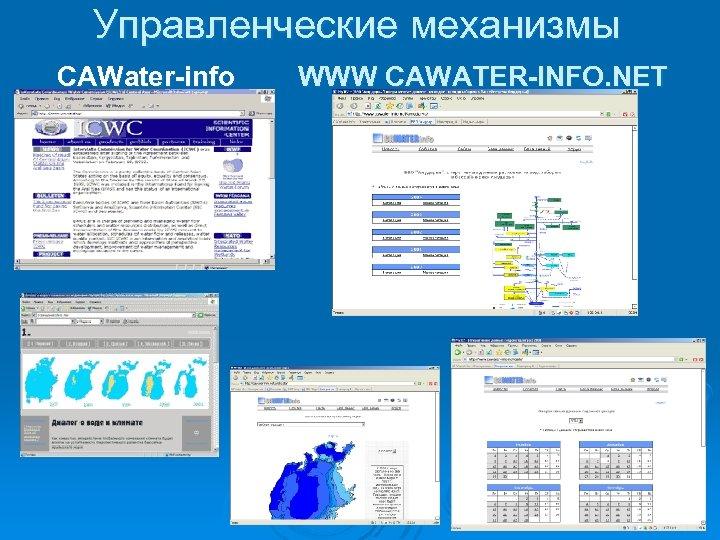 Управленческие механизмы CAWater-info WWW CAWATER-INFO. NET
