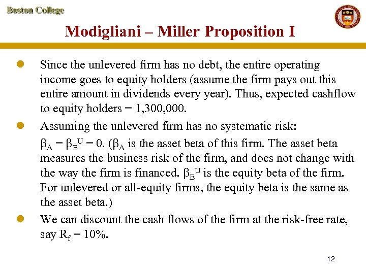 Modigliani – Miller Proposition I l l l Since the unlevered firm has no