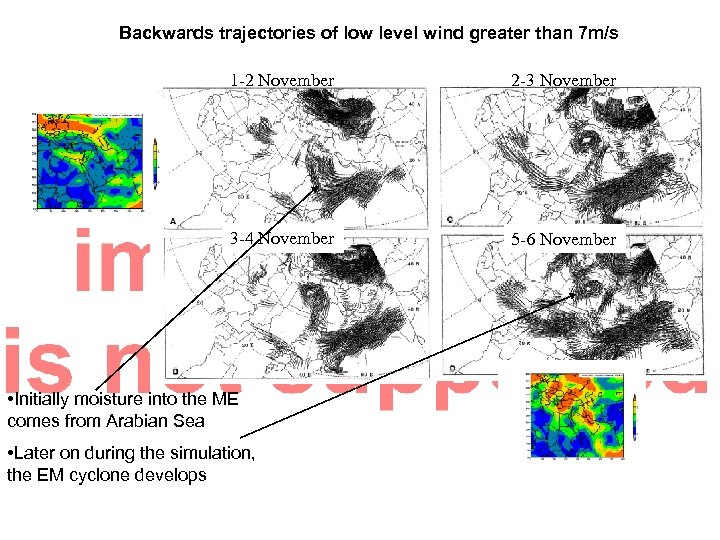 Backwards trajectories of low level wind greater than 7 m/s 1 -2 November 2