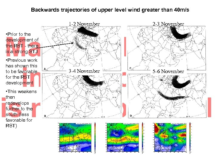 Backwards trajectories of upper level wind greater than 40 m/s 1 -2 November 2