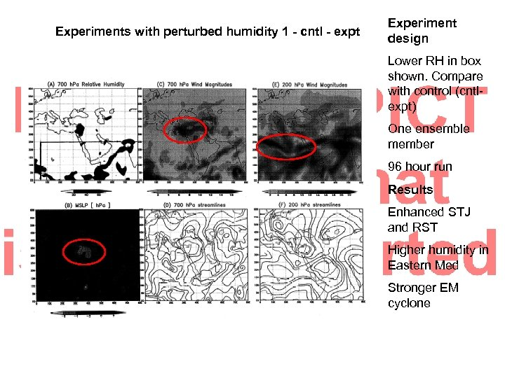 Experiments with perturbed humidity 1 - cntl - expt Experiment design Lower RH in