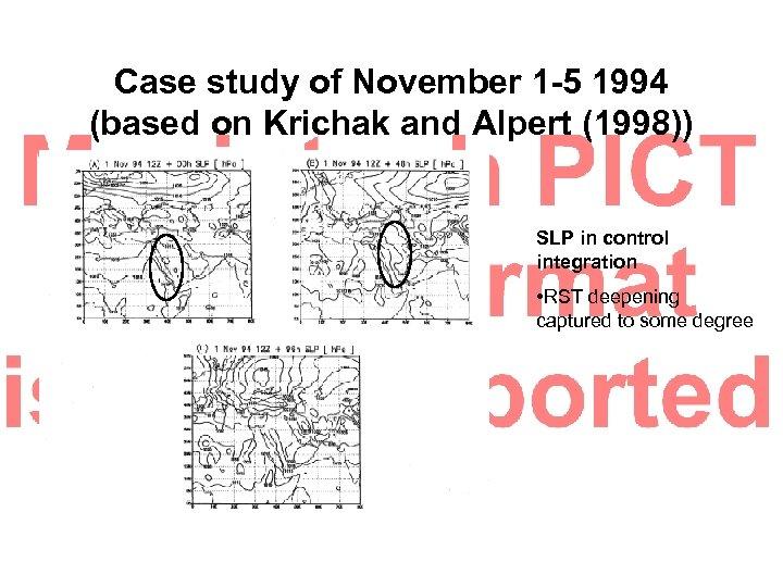 Case study of November 1 -5 1994 (based on Krichak and Alpert (1998)) SLP