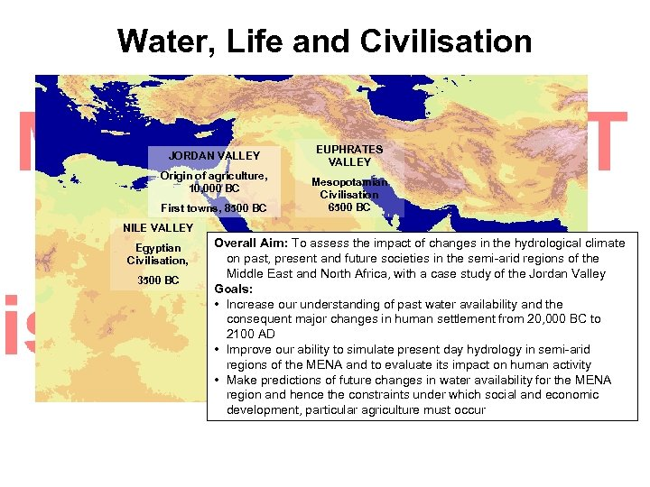 Water, Life and Civilisation JORDAN VALLEY Origin of agriculture, 10, 000 BC First towns,