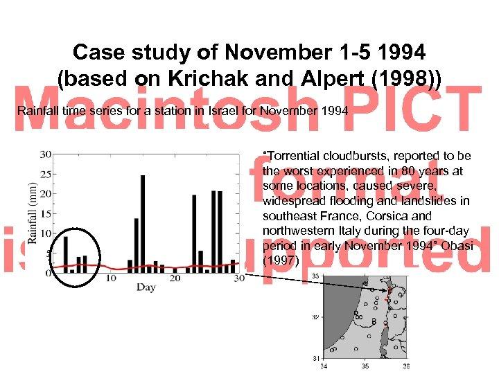 Case study of November 1 -5 1994 (based on Krichak and Alpert (1998)) Rainfall