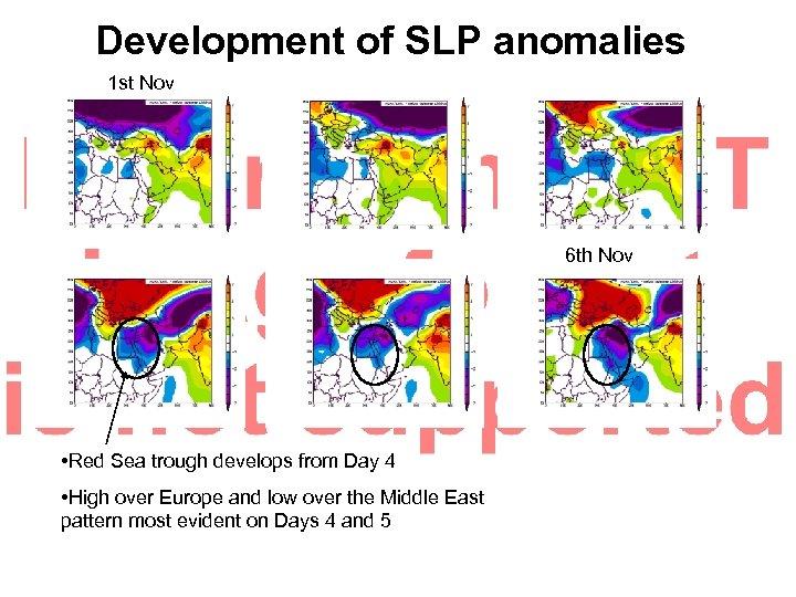 Development of SLP anomalies 1 st Nov 6 th Nov • Red Sea trough