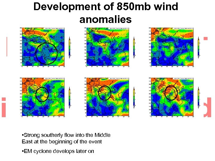 Development of 850 mb wind anomalies • Strong southerly flow into the Middle East