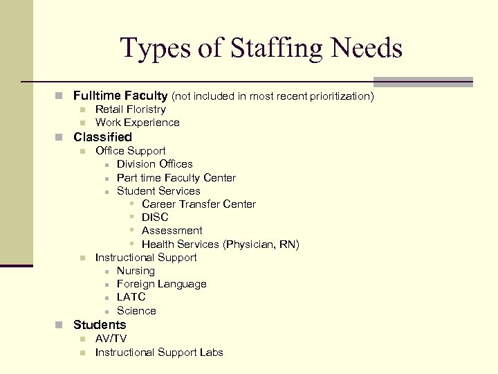 Types of Staffing Needs n Fulltime Faculty (not included in most recent prioritization) n