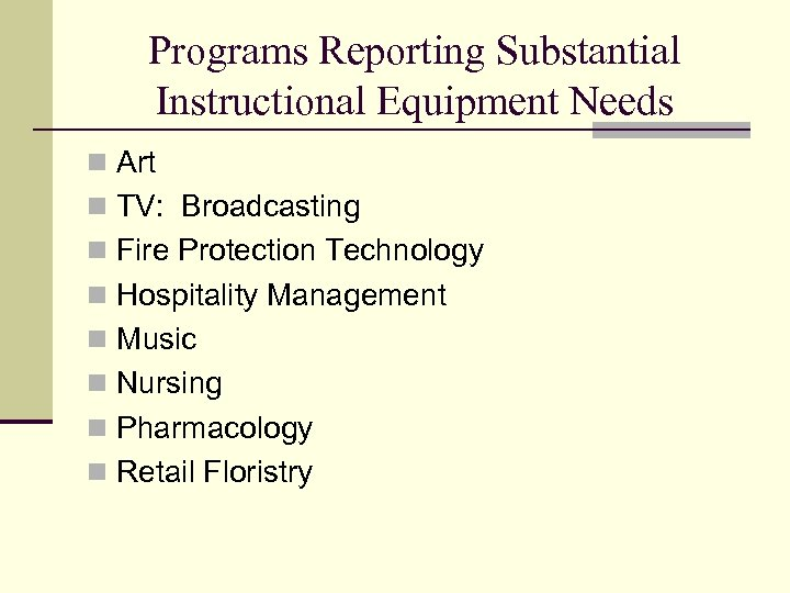 Programs Reporting Substantial Instructional Equipment Needs n Art n TV: Broadcasting n Fire Protection