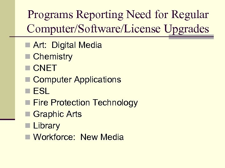 Programs Reporting Need for Regular Computer/Software/License Upgrades n n n n n Art: Digital