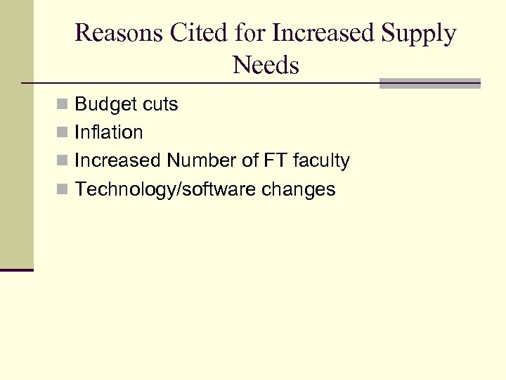 Reasons Cited for Increased Supply Needs n Budget cuts n Inflation n Increased Number