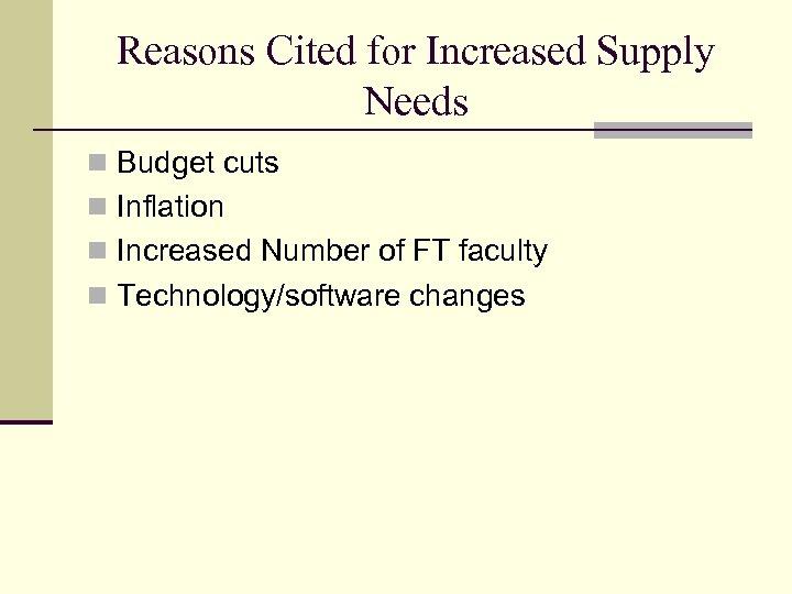 Reasons Cited for Increased Supply Needs n Budget cuts n Inflation n Increased Number