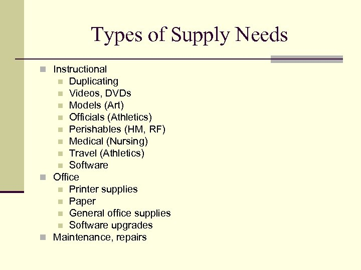 Types of Supply Needs n Instructional Duplicating n Videos, DVDs n Models (Art) n