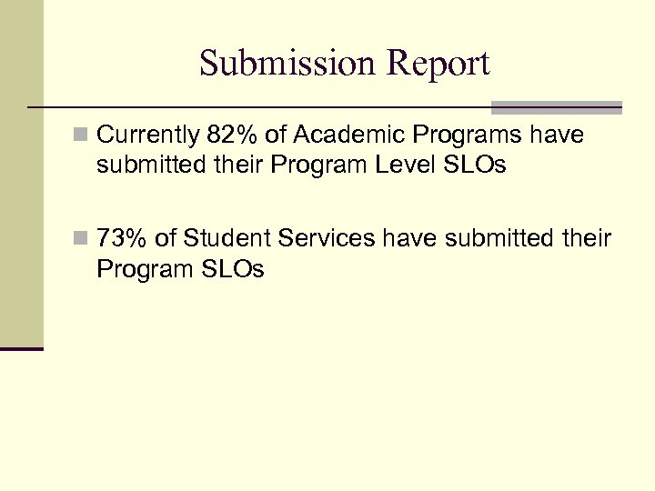 Submission Report n Currently 82% of Academic Programs have submitted their Program Level SLOs