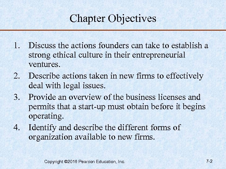 Chapter Objectives 1. Discuss the actions founders can take to establish a strong ethical