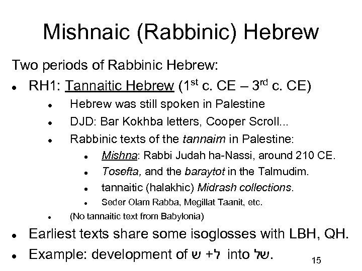 Mishnaic (Rabbinic) Hebrew Two periods of Rabbinic Hebrew: st rd RH 1: Tannaitic Hebrew