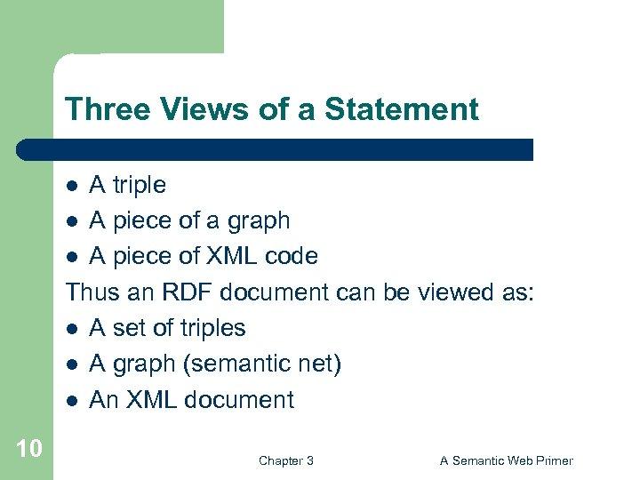 Three Views of a Statement A triple l A piece of a graph l