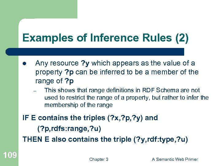 Examples of Inference Rules (2) l Any resource ? y which appears as the