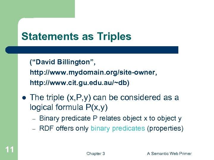 "Statements as Triples (""David Billington"", http: //www. mydomain. org/site-owner, http: //www. cit. gu. edu."