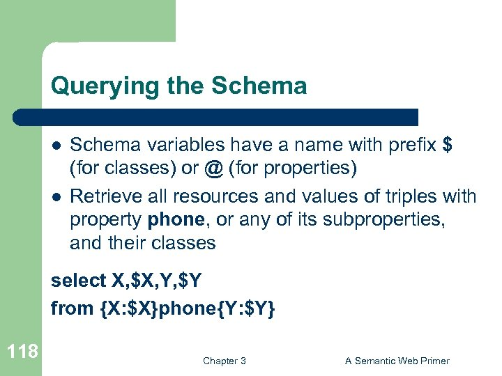Querying the Schema l l Schema variables have a name with prefix $ (for