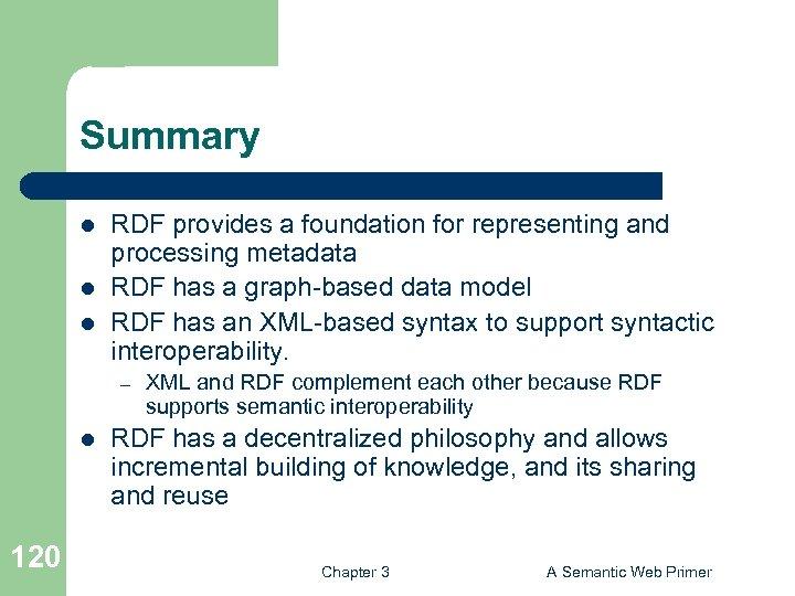 Summary l l l RDF provides a foundation for representing and processing metadata RDF