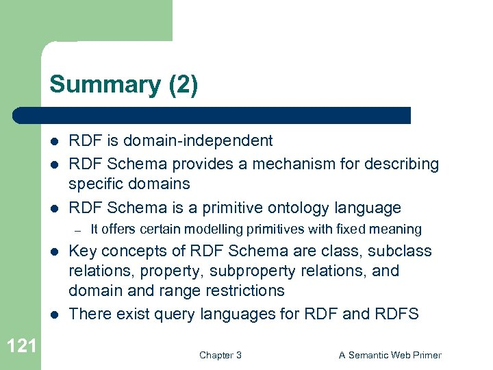 Summary (2) l l l RDF is domain-independent RDF Schema provides a mechanism for