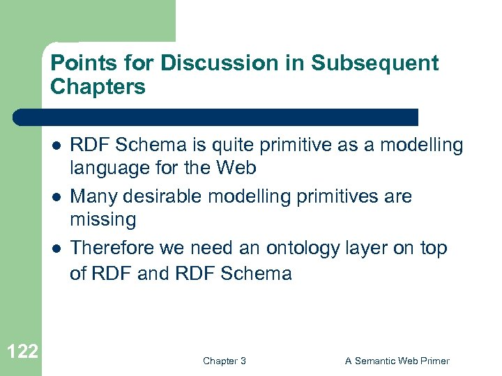 Points for Discussion in Subsequent Chapters l l l 122 RDF Schema is quite