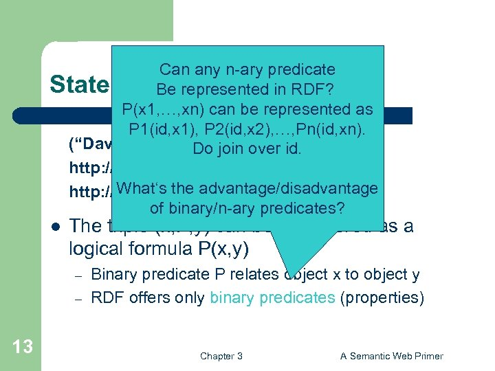 Can any n-ary predicate Statements as Triples Be represented in RDF? P(x 1, …,