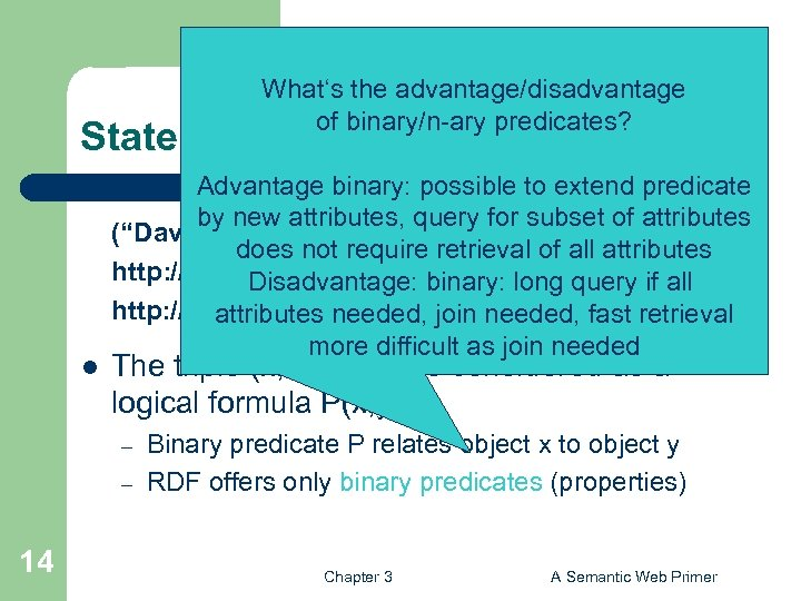 What's the advantage/disadvantage of binary/n-ary predicates? Statements as Triples l Advantage binary: possible to