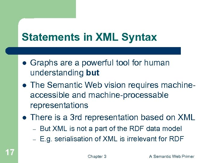 Statements in XML Syntax l l l Graphs are a powerful tool for human