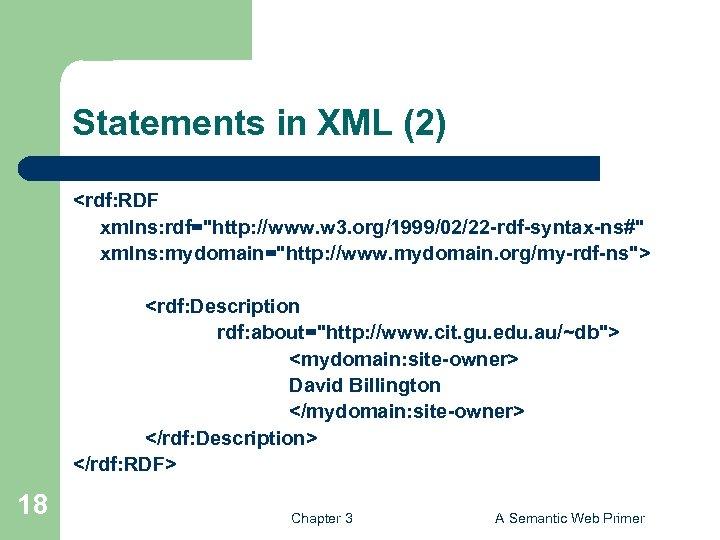 Statements in XML (2) <rdf: RDF xmlns: rdf=