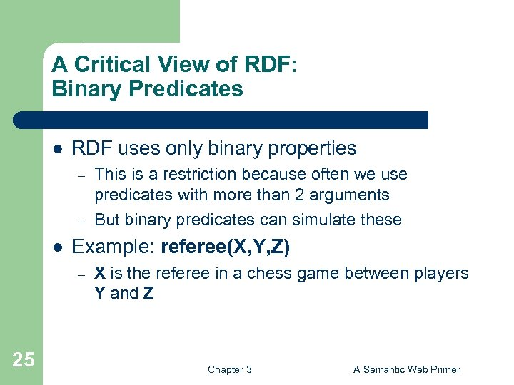 A Critical View of RDF: Binary Predicates l RDF uses only binary properties –