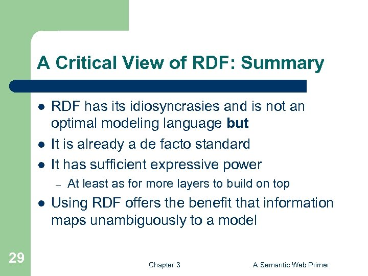 A Critical View of RDF: Summary l l l RDF has its idiosyncrasies and