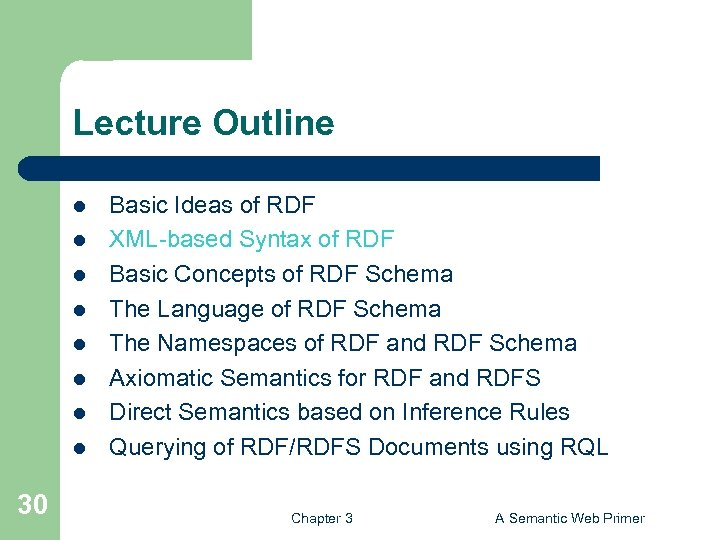 Lecture Outline l l l l 30 Basic Ideas of RDF XML-based Syntax of