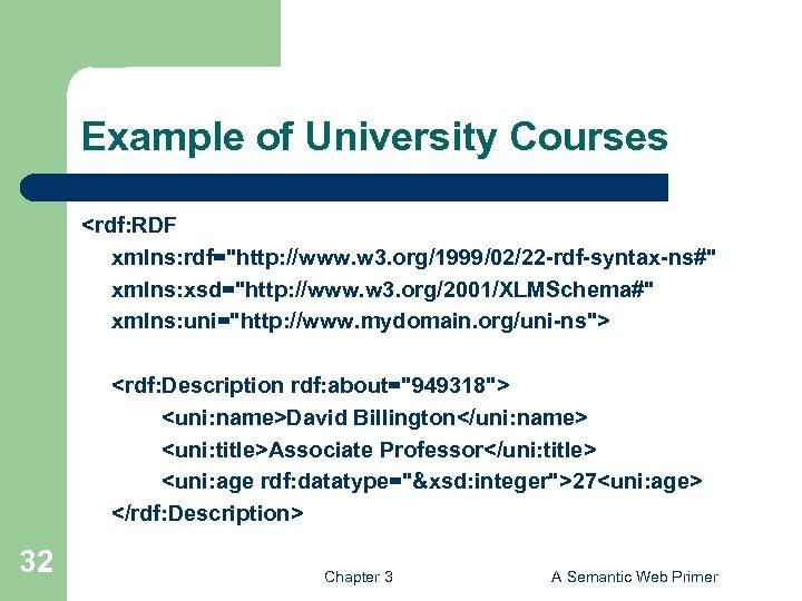 Example of University Courses <rdf: RDF xmlns: rdf=