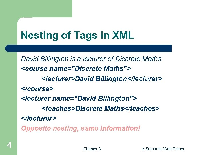 Nesting of Tags in XML David Billington is a lecturer of Discrete Maths <course